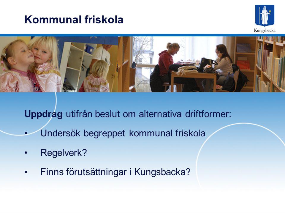 Kommunal friskola Uppdrag utifrån beslut om alternativa driftformer: Undersök begreppet kommunal friskola Regelverk.