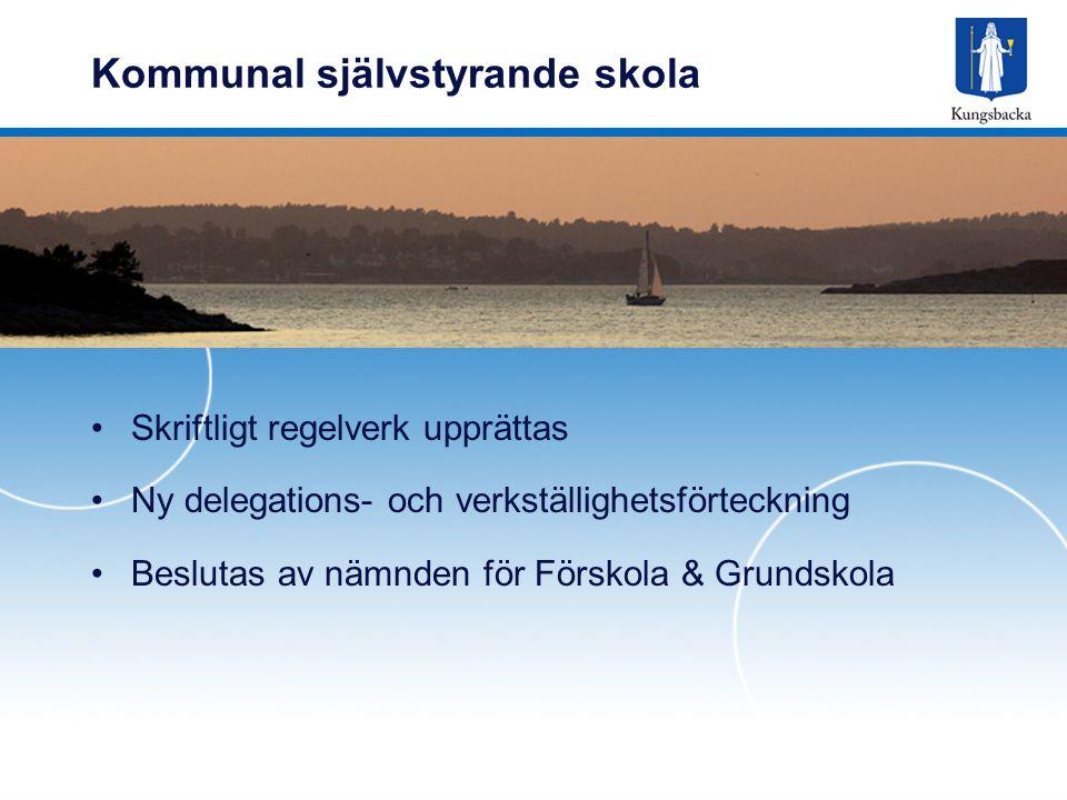Kommunal självstyrande skola Skriftligt regelverk upprättas Ny delegations- och verkställighetsförteckning Beslutas av nämnden för Förskola & Grundsko