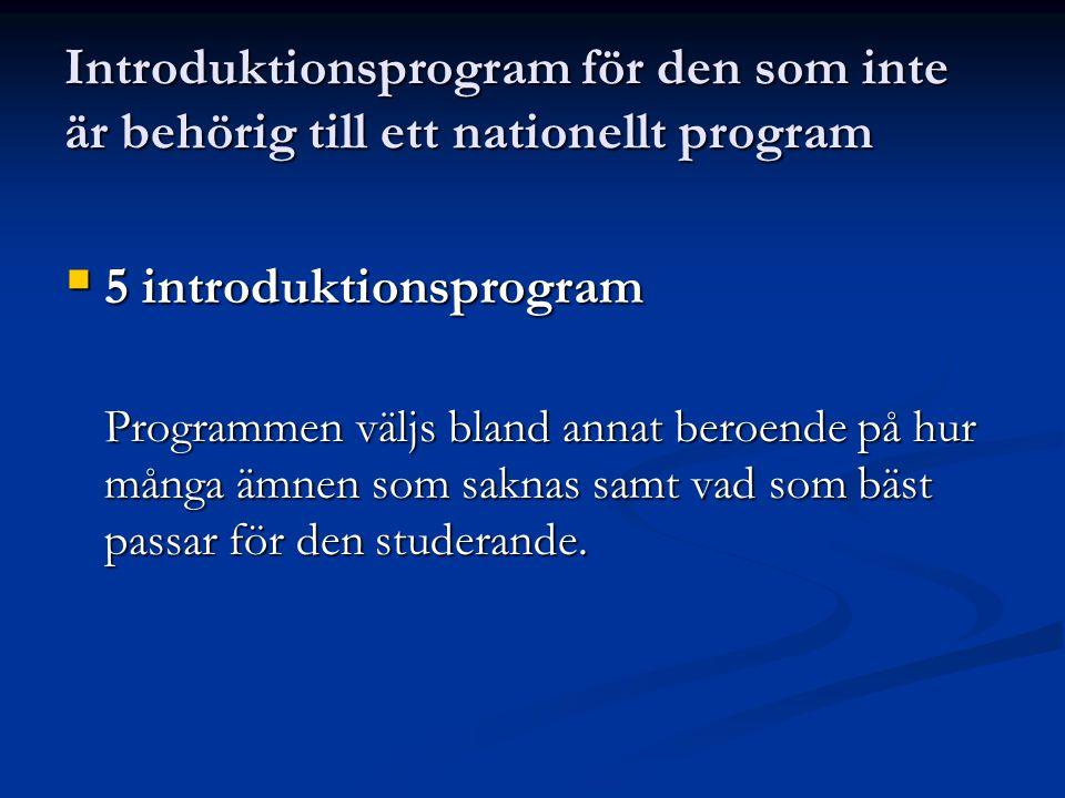 Introduktionsprogram för den som inte är behörig till ett nationellt program  5 introduktionsprogram Programmen väljs bland annat beroende på hur många ämnen som saknas samt vad som bäst passar för den studerande.