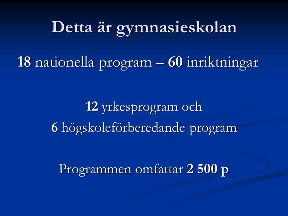 Detta är gymnasieskolan 18 nationella program – 60 inriktningar 12 yrkesprogram och 6 högskoleförberedande program Programmen omfattar 2 500 p