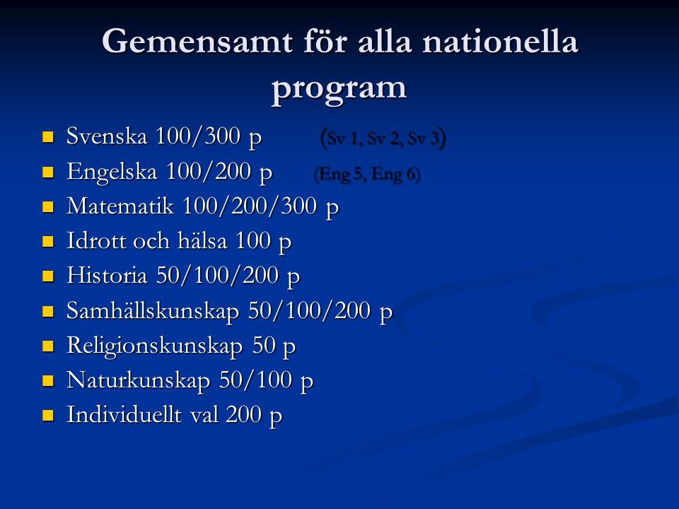 Gemensamt för alla nationella program Svenska 100/300 p ( Sv 1, Sv 2, Sv 3 ) Svenska 100/300 p ( Sv 1, Sv 2, Sv 3 ) Engelska 100/200 p (Eng 5, Eng 6) Engelska 100/200 p (Eng 5, Eng 6) Matematik 100/200/300 p Matematik 100/200/300 p Idrott och hälsa 100 p Idrott och hälsa 100 p Historia 50/100/200 p Historia 50/100/200 p Samhällskunskap 50/100/200 p Samhällskunskap 50/100/200 p Religionskunskap 50 p Religionskunskap 50 p Naturkunskap 50/100 p Naturkunskap 50/100 p Individuellt val 200 p Individuellt val 200 p