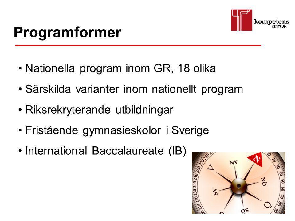 Nationella program inom GR, 18 olika Särskilda varianter inom nationellt program Riksrekryterande utbildningar Fristående gymnasieskolor i Sverige Int