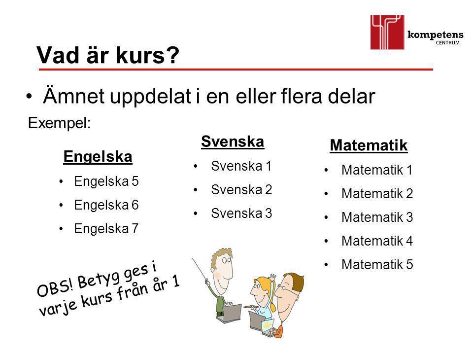 Vad är kurs? Ämnet uppdelat i en eller flera delar Svenska Svenska 1 Svenska 2 Svenska 3 Matematik Matematik 1 Matematik 2 Matematik 3 Matematik 4 Mat