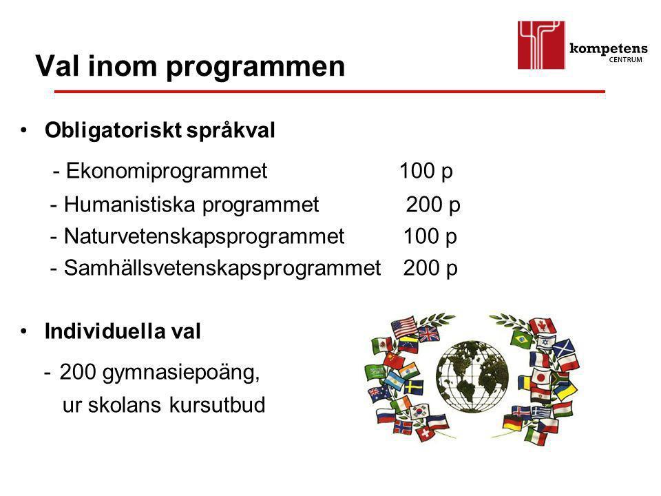 Val inom programmen Obligatoriskt språkval - Ekonomiprogrammet 100 p - Humanistiska programmet 200 p - Naturvetenskapsprogrammet 100 p - Samhällsveten