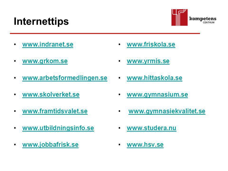 www.grkom.se www.arbetsformedlingen.se www.skolverket.se www.framtidsvalet.se www.utbildningsinfo.se www.jobbafrisk.se www.friskola.se www.yrmis.se ww
