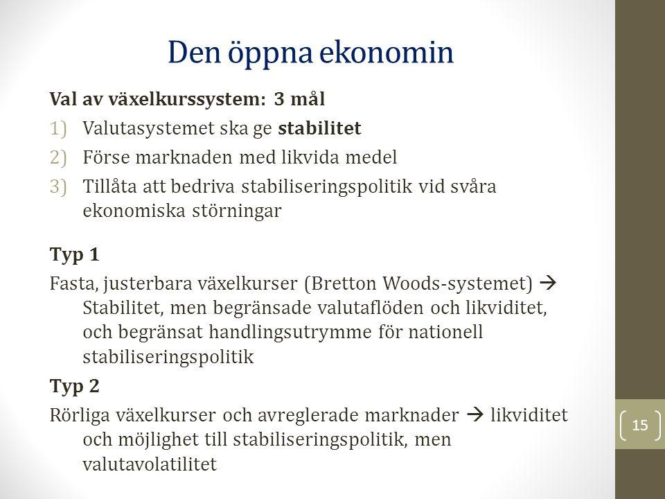 Val av växelkurssystem: 3 mål 1)Valutasystemet ska ge stabilitet 2)Förse marknaden med likvida medel 3)Tillåta att bedriva stabiliseringspolitik vid s