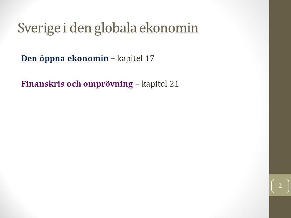 Sverige i den globala ekonomin Den öppna ekonomin – kapitel 17 Finanskris och omprövning – kapitel 21 2