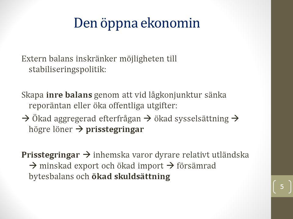 Extern balans inskränker möjligheten till stabiliseringspolitik: Skapa inre balans genom att vid lågkonjunktur sänka reporäntan eller öka offentliga u