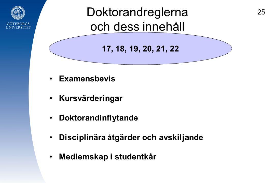 Doktorandreglerna och dess innehåll 17, 18, 19, 20, 21, 22 Examensbevis Kursvärderingar Doktorandinflytande Disciplinära åtgärder och avskiljande Medl