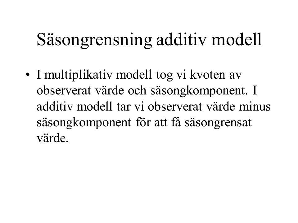 Säsongrensning additiv modell I multiplikativ modell tog vi kvoten av observerat värde och säsongkomponent.