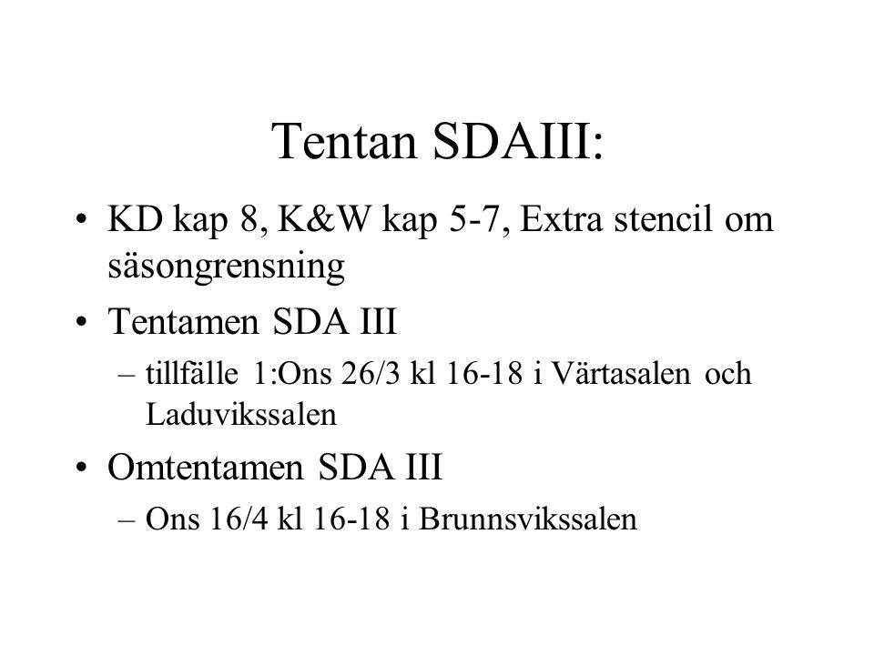 Tentan SDAIII: KD kap 8, K&W kap 5-7, Extra stencil om säsongrensning Tentamen SDA III –tillfälle 1:Ons 26/3 kl 16-18 i Värtasalen och Laduvikssalen Omtentamen SDA III –Ons 16/4 kl 16-18 i Brunnsvikssalen