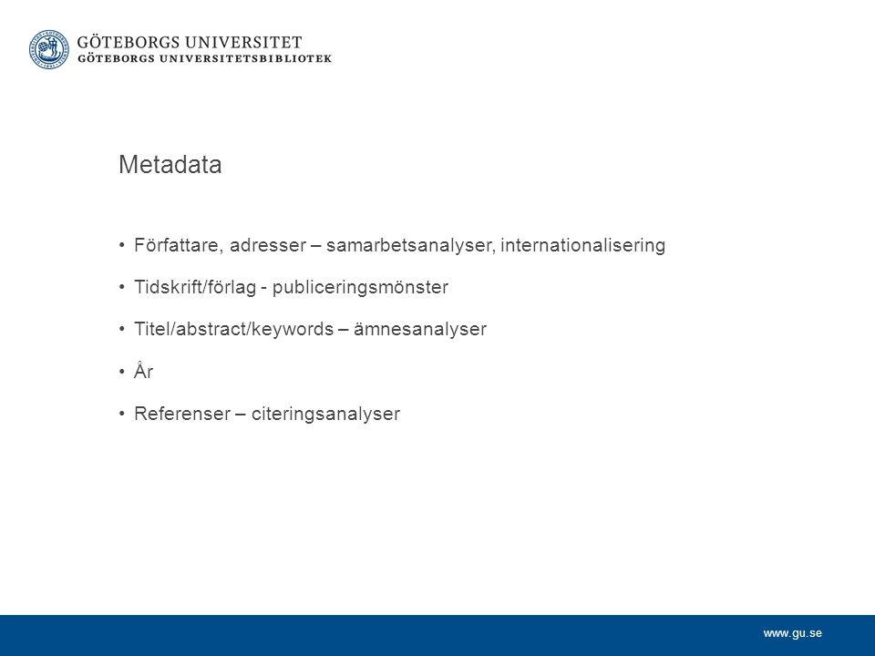 Metadata Författare, adresser – samarbetsanalyser, internationalisering Tidskrift/förlag - publiceringsmönster Titel/abstract/keywords – ämnesanalyser År Referenser – citeringsanalyser