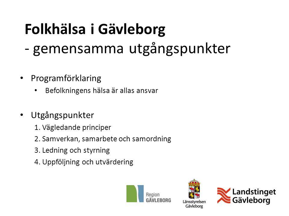 Folkhälsa i Gävleborg - gemensamma utgångspunkter Programförklaring Befolkningens hälsa är allas ansvar Utgångspunkter 1. Vägledande principer 2. Samv