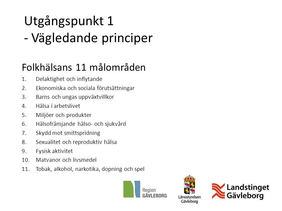 Utgångspunkt 1 - Vägledande principer Folkhälsans 11 målområden 1.Delaktighet och inflytande 2.Ekonomiska och sociala förutsättningar 3.Barns och unga