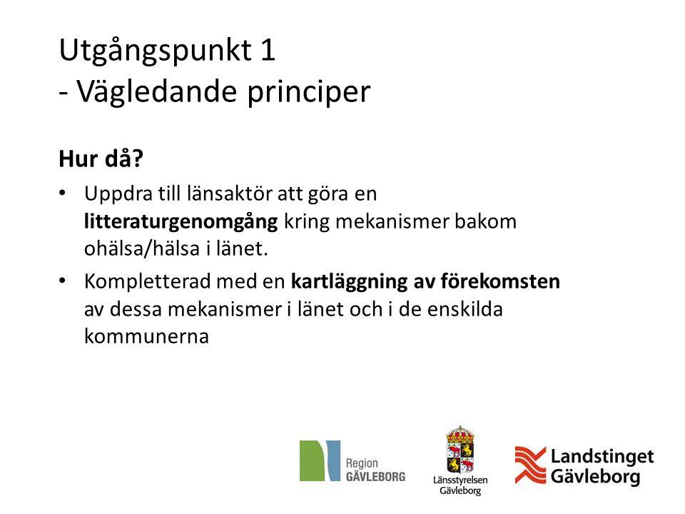 Utgångspunkt 1 - Vägledande principer Hur då? Uppdra till länsaktör att göra en litteraturgenomgång kring mekanismer bakom ohälsa/hälsa i länet. Kompl