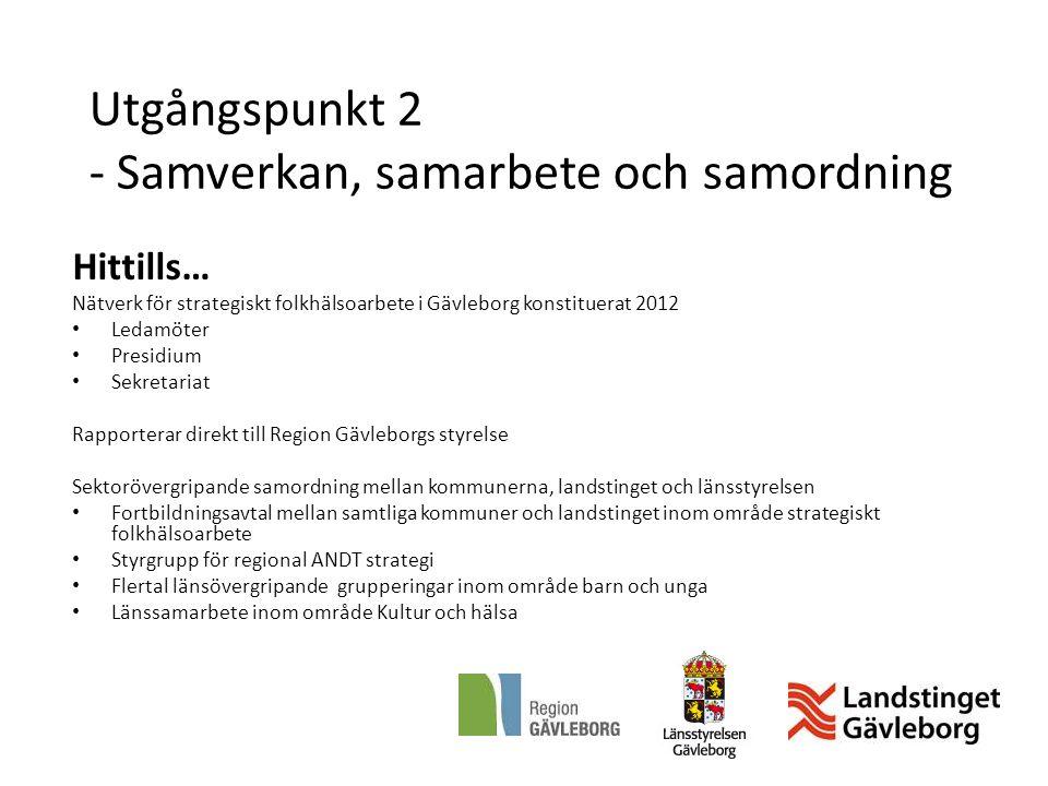 Utgångspunkt 2 - Samverkan, samarbete och samordning Hittills… Nätverk för strategiskt folkhälsoarbete i Gävleborg konstituerat 2012 Ledamöter Presidi