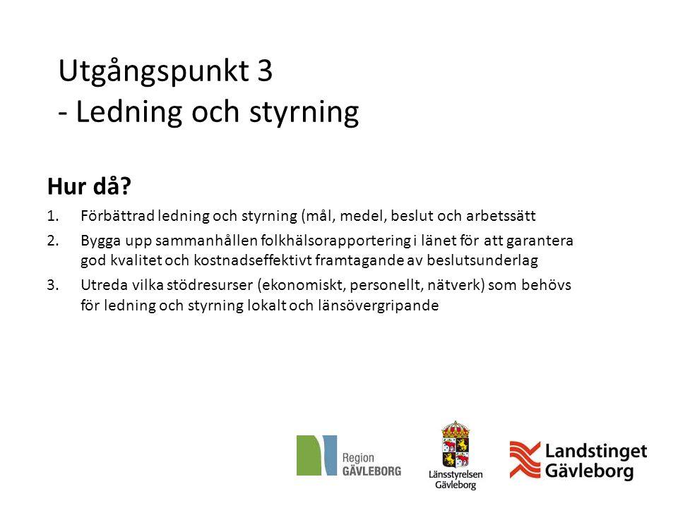 Utgångspunkt 3 - Ledning och styrning Hur då? 1.Förbättrad ledning och styrning (mål, medel, beslut och arbetssätt 2.Bygga upp sammanhållen folkhälsor