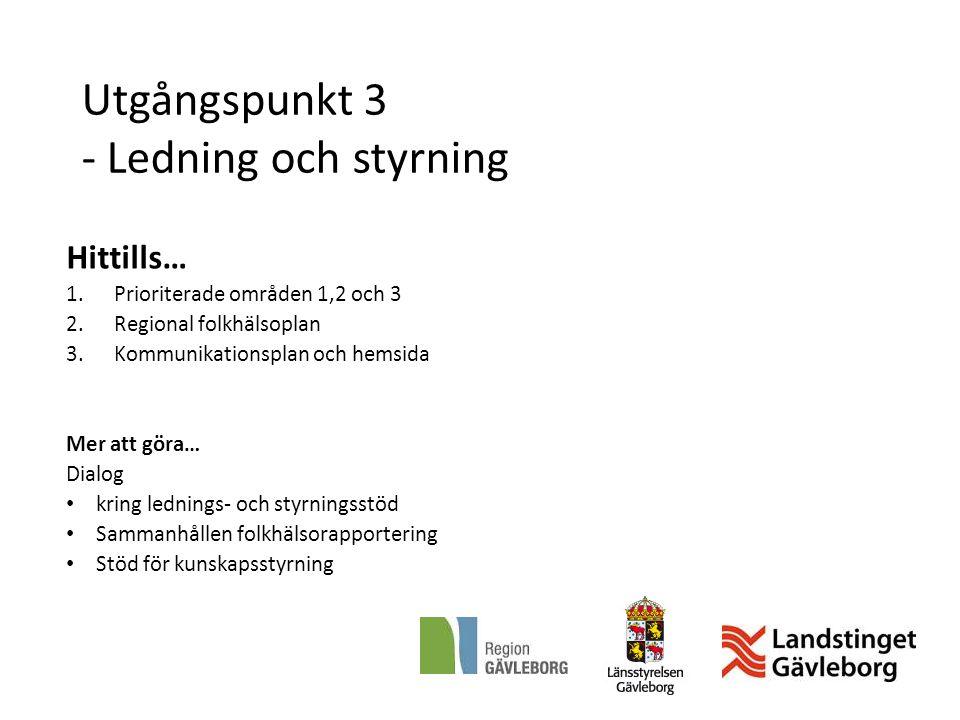 Utgångspunkt 3 - Ledning och styrning Hittills… 1.Prioriterade områden 1,2 och 3 2.Regional folkhälsoplan 3.Kommunikationsplan och hemsida Mer att gör