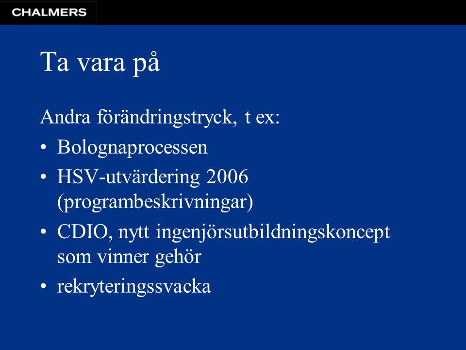 Ta vara på Andra förändringstryck, t ex: Bolognaprocessen HSV-utvärdering 2006 (programbeskrivningar) CDIO, nytt ingenjörsutbildningskoncept som vinner gehör rekryteringssvacka