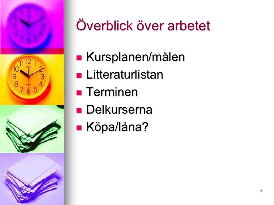 2 Överblick över arbetet Kursplanen/målen Kursplanen/målen Litteraturlistan Litteraturlistan Terminen Terminen Delkurserna Delkurserna Köpa/låna.