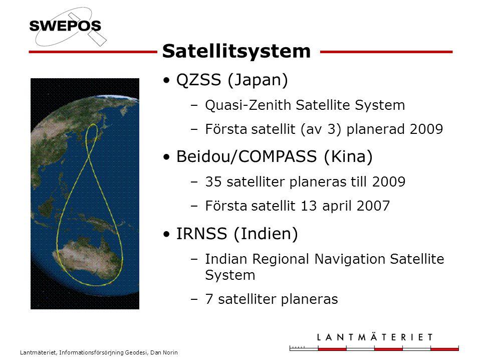 Lantmäteriet, Informationsförsörjning Geodesi, Dan Norin QZSS (Japan) –Quasi-Zenith Satellite System –Första satellit (av 3) planerad 2009 Beidou/COMP