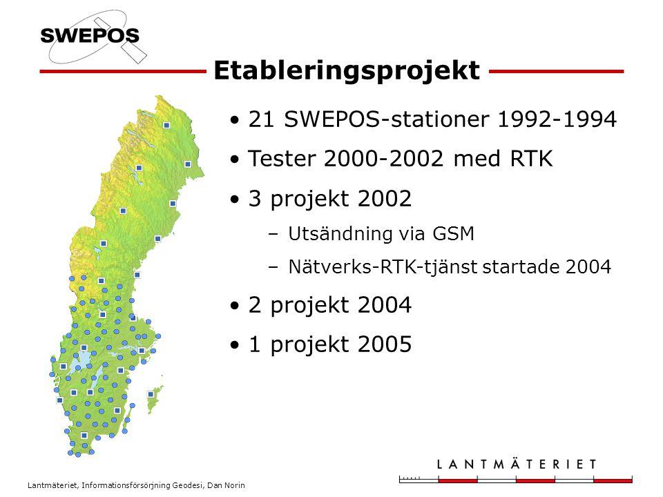 Lantmäteriet, Informationsförsörjning Geodesi, Dan Norin Etableringsprojekt 21 SWEPOS-stationer 1992-1994 Tester 2000-2002 med RTK 3 projekt 2002 –Utsändning via GSM –Nätverks-RTK-tjänst startade 2004 2 projekt 2004 1 projekt 2005