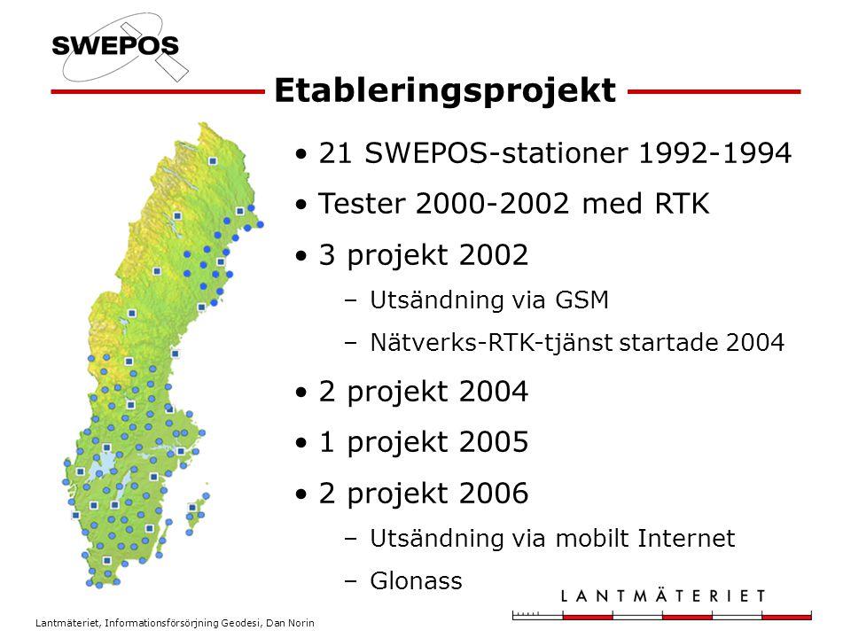 Lantmäteriet, Informationsförsörjning Geodesi, Dan Norin Etableringsprojekt 21 SWEPOS-stationer 1992-1994 Tester 2000-2002 med RTK 3 projekt 2002 –Utsändning via GSM –Nätverks-RTK-tjänst startade 2004 2 projekt 2004 1 projekt 2005 2 projekt 2006 –Utsändning via mobilt Internet –Glonass