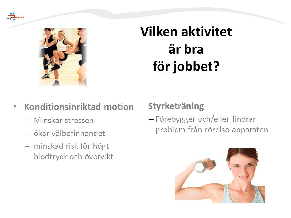 …kanske gympar istället för att… Förebygger och/eller lindrar problem från rörelseapparaten Kvinna med dataskärmsarbete… …styrketräna