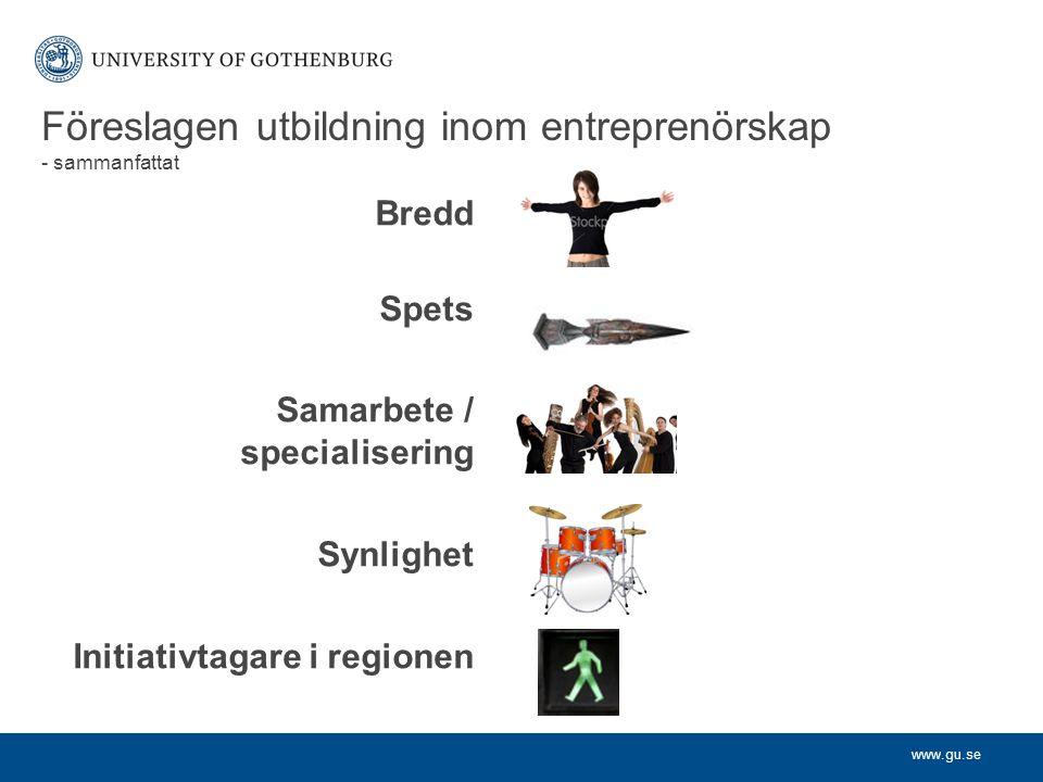 www.gu.se Bredd Spets Samarbete / specialisering Synlighet Initiativtagare i regionen Föreslagen utbildning inom entreprenörskap - sammanfattat