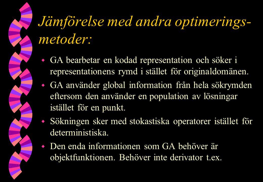 Jämförelse med andra optimerings- metoder: w GA bearbetar en kodad representation och söker i representationens rymd i stället för originaldomänen. w