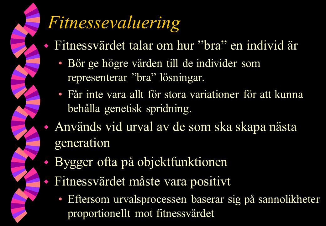 """Fitnessevaluering w Fitnessvärdet talar om hur """"bra"""" en individ är Bör ge högre värden till de individer som representerar """"bra"""" lösningar. Får inte v"""