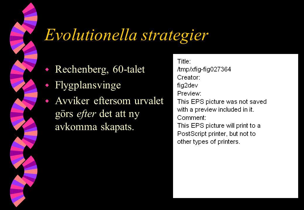Evolutionella strategier w Rechenberg, 60-talet w Flygplansvinge w Avviker eftersom urvalet görs efter det att ny avkomma skapats.