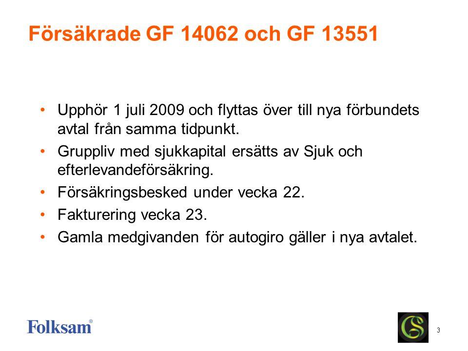 3 Försäkrade GF 14062 och GF 13551 Upphör 1 juli 2009 och flyttas över till nya förbundets avtal från samma tidpunkt. Gruppliv med sjukkapital ersätts