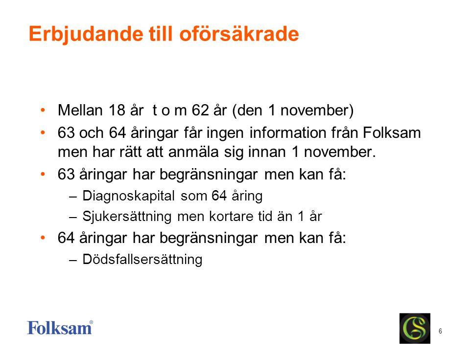 6 Erbjudande till oförsäkrade Mellan 18 år t o m 62 år (den 1 november) 63 och 64 åringar får ingen information från Folksam men har rätt att anmäla s