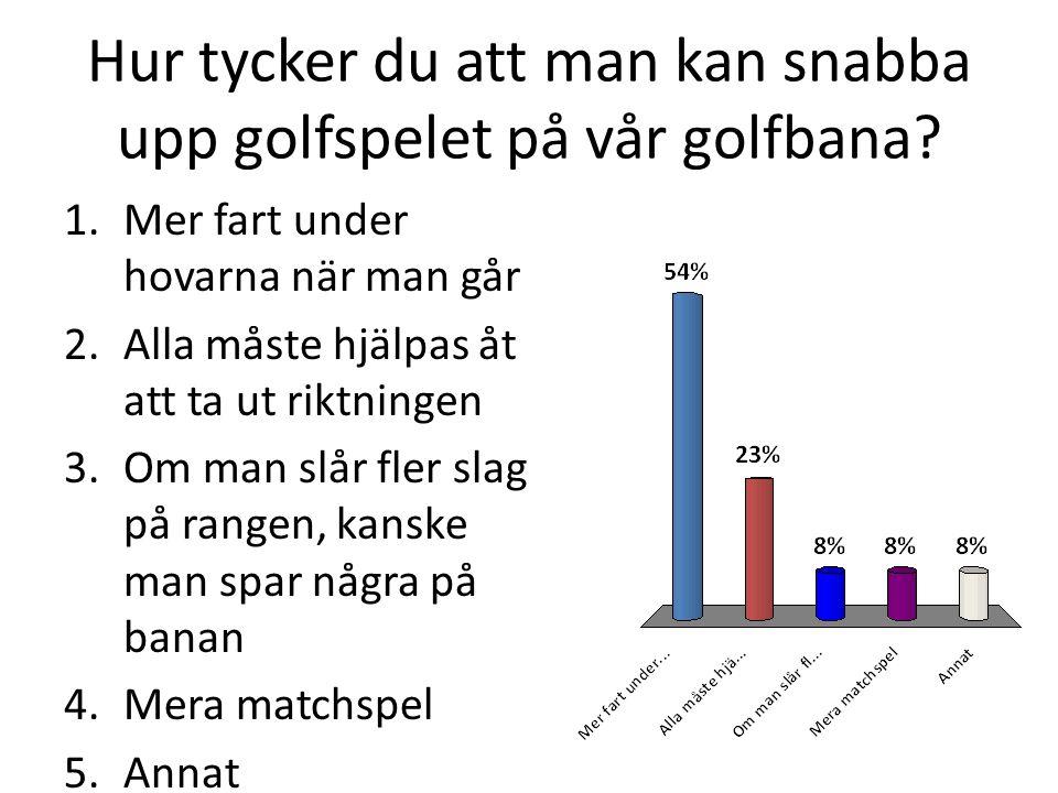 Hur tycker du att man kan snabba upp golfspelet på vår golfbana.