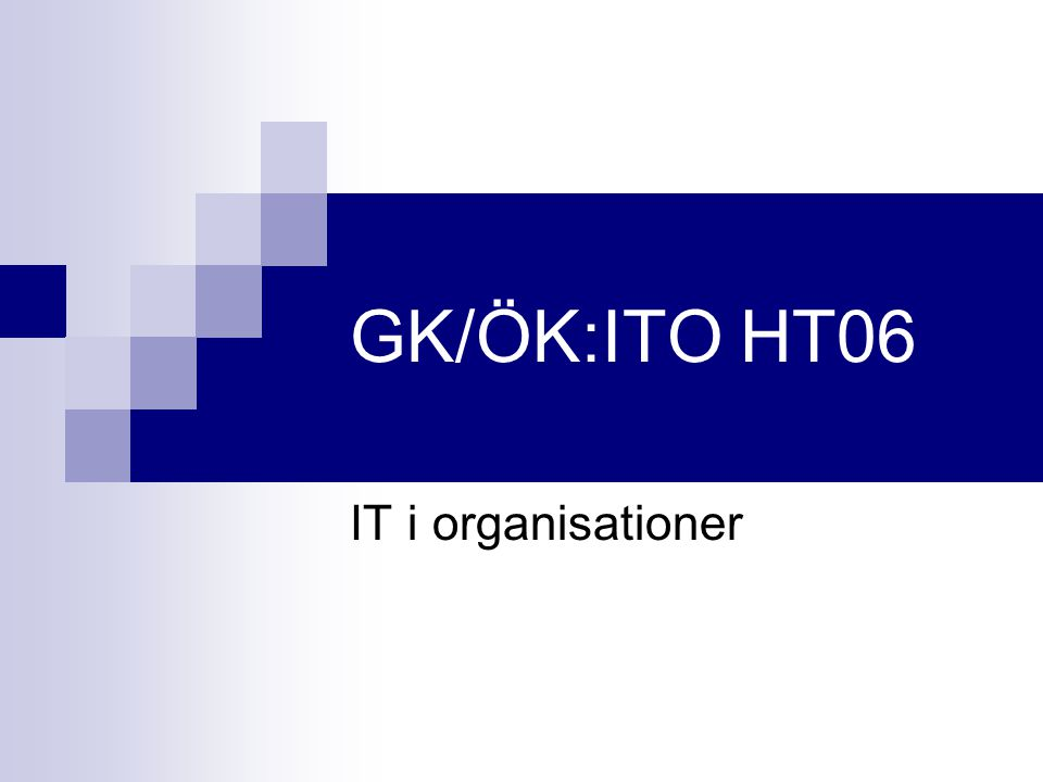 GK/ÖK:ITO HT06 IT i organisationer
