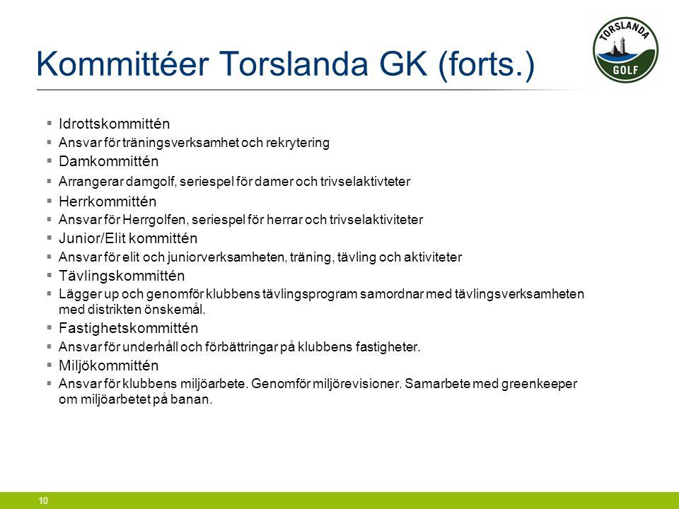 10 Kommittéer Torslanda GK (forts.)  Idrottskommittén  Ansvar för träningsverksamhet och rekrytering  Damkommittén  Arrangerar damgolf, seriespel