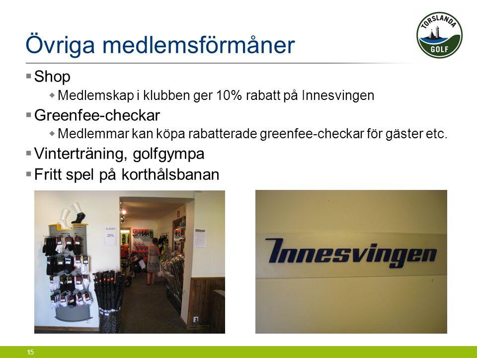 15 Övriga medlemsförmåner  Shop  Medlemskap i klubben ger 10% rabatt på Innesvingen  Greenfee-checkar  Medlemmar kan köpa rabatterade greenfee-che