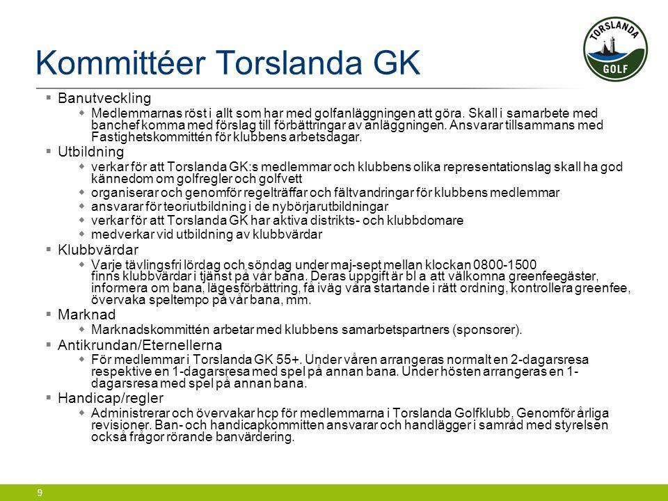 9 Kommittéer Torslanda GK  Banutveckling  Medlemmarnas röst i allt som har med golfanläggningen att göra. Skall i samarbete med banchef komma med fö