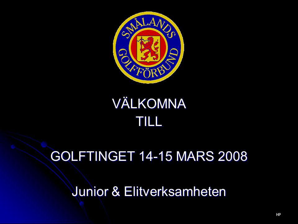 VÄLKOMNATILL GOLFTINGET 14-15 MARS 2008 Junior & Elitverksamheten HP