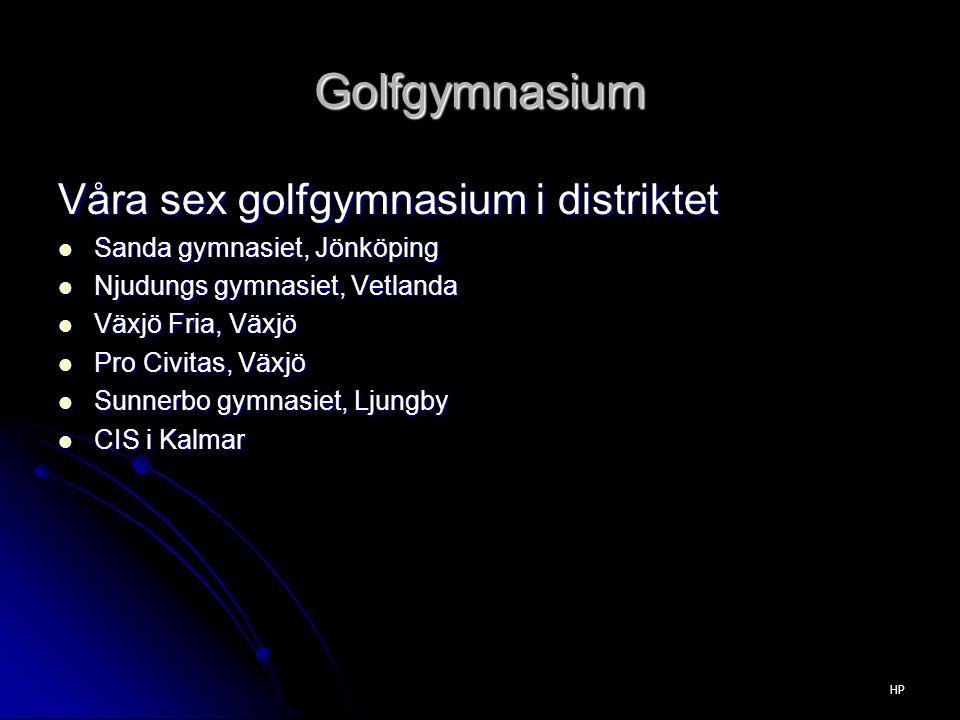 Golfgymnasium Våra sex golfgymnasium i distriktet Sanda gymnasiet, Jönköping Sanda gymnasiet, Jönköping Njudungs gymnasiet, Vetlanda Njudungs gymnasiet, Vetlanda Växjö Fria, Växjö Växjö Fria, Växjö Pro Civitas, Växjö Pro Civitas, Växjö Sunnerbo gymnasiet, Ljungby Sunnerbo gymnasiet, Ljungby CIS i Kalmar CIS i Kalmar HP