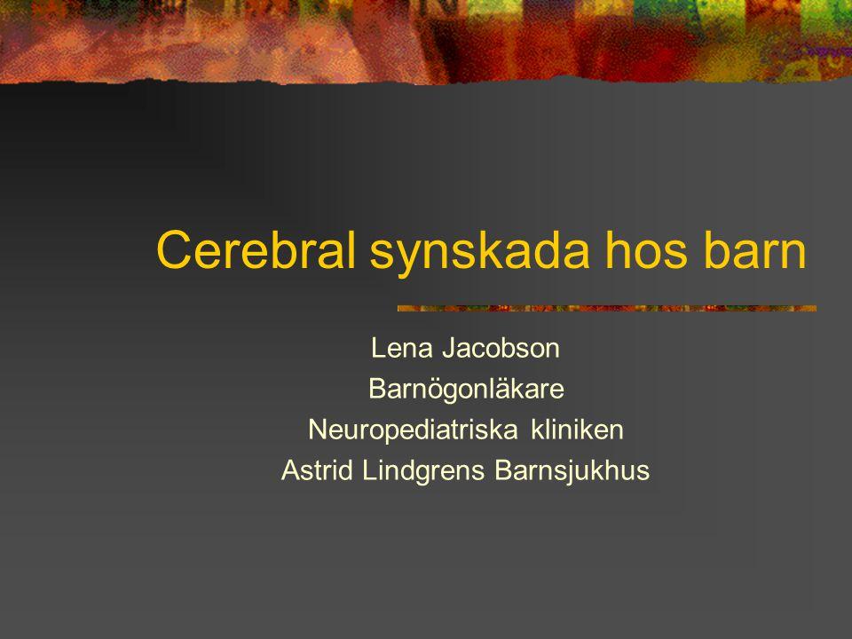 Cerebral synskada hos barn Lena Jacobson Barnögonläkare Neuropediatriska kliniken Astrid Lindgrens Barnsjukhus