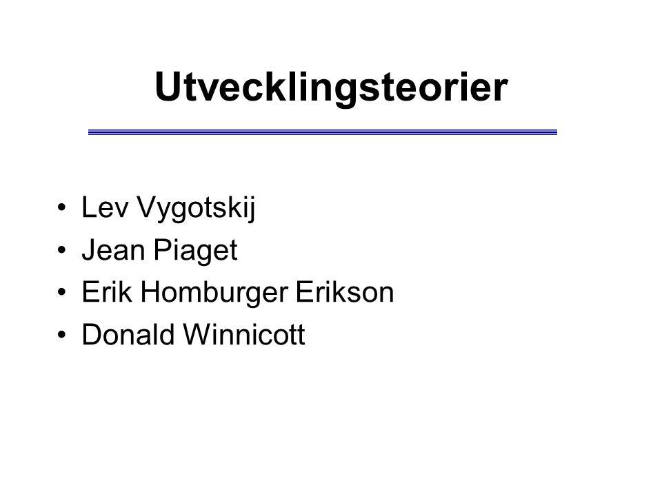 Utvecklingsteorier Lev Vygotskij Jean Piaget Erik Homburger Erikson Donald Winnicott
