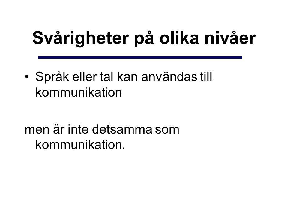 Svårigheter på olika nivåer Språk eller tal kan användas till kommunikation men är inte detsamma som kommunikation.