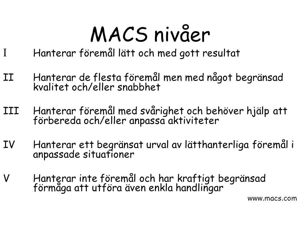 MACS nivåer I Hanterar föremål lätt och med gott resultat IIHanterar de flesta föremål men med något begränsad kvalitet och/eller snabbhet IIIHanterar föremål med svårighet och behöver hjälp att förbereda och/eller anpassa aktiviteter IVHanterar ett begränsat urval av lätthanterliga föremål i anpassade situationer VHanterar inte föremål och har kraftigt begränsad förmåga att utföra även enkla handlingar www.macs.com