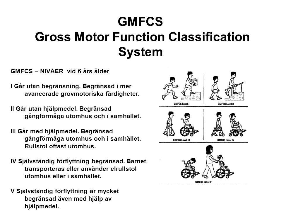 GMFCS Gross Motor Function Classification System GMFCS – NIVÅER vid 6 års ålder I Går utan begränsning. Begränsad i mer avancerade grovmotoriska färdi