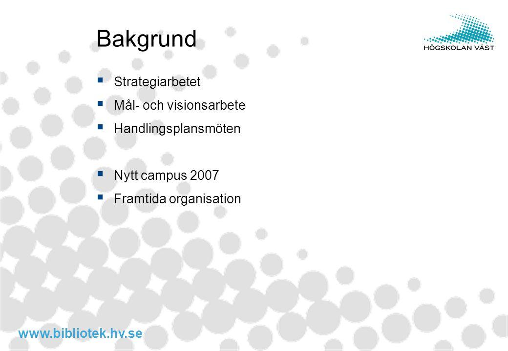 www.bibliotek.hv.se Bakgrund  Strategiarbetet  Mål- och visionsarbete  Handlingsplansmöten  Nytt campus 2007  Framtida organisation