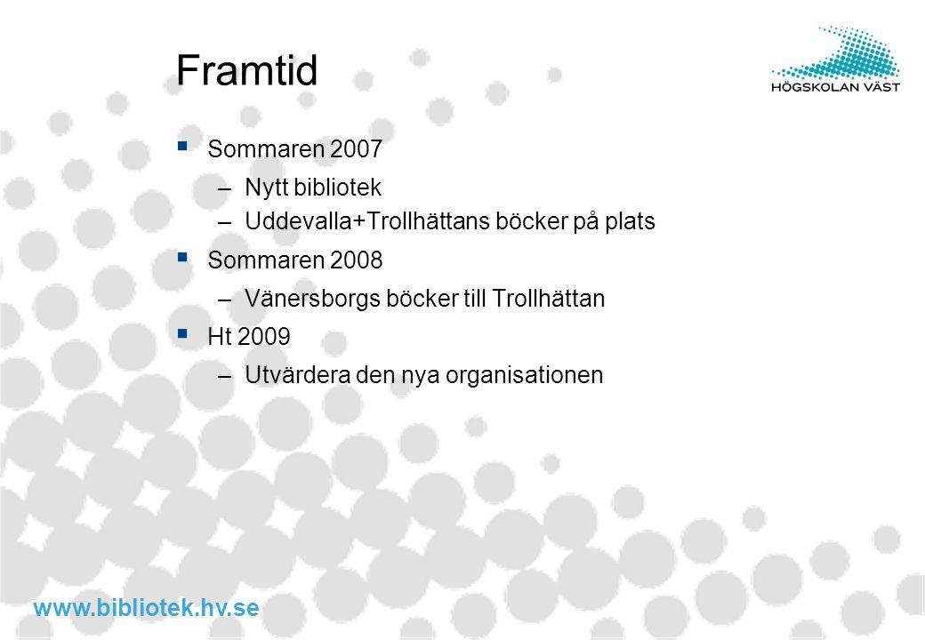 www.bibliotek.hv.se Framtid  Sommaren 2007 –Nytt bibliotek –Uddevalla+Trollhättans böcker på plats  Sommaren 2008 –Vänersborgs böcker till Trollhätt