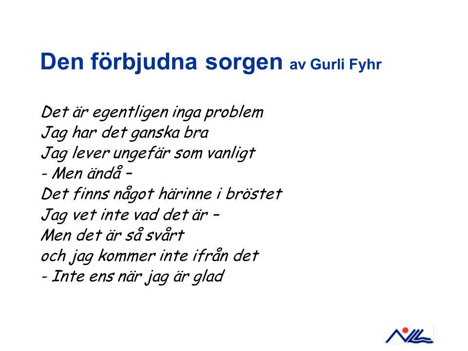 Den förbjudna sorgen av Gurli Fyhr Det är egentligen inga problem Jag har det ganska bra Jag lever ungefär som vanligt - Men ändå – Det finns något hä