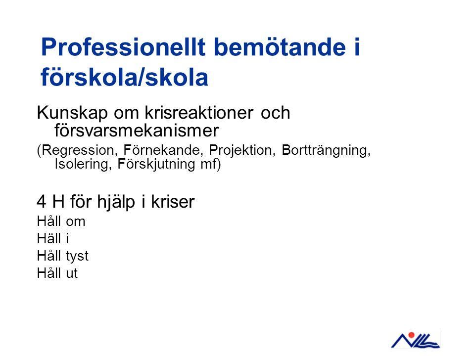 Professionellt bemötande i förskola/skola Kunskap om krisreaktioner och försvarsmekanismer (Regression, Förnekande, Projektion, Bortträngning, Isoleri